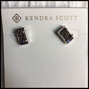Kendra Scott Paola Post Earrings/Silver Drusy 🆕